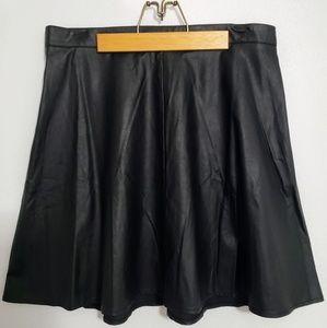 Black A-Line Pleather Skirt